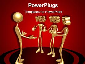 PowerPoint template displaying three gold figures saying yes to fourth with thumbs up gestures