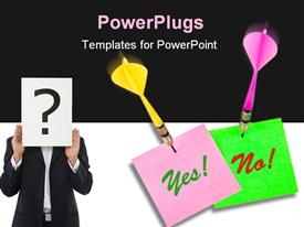 PowerPoint template displaying note papers Yes and No