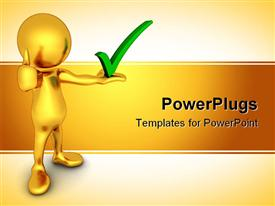 PowerPoint template displaying gold figure holding green check mark