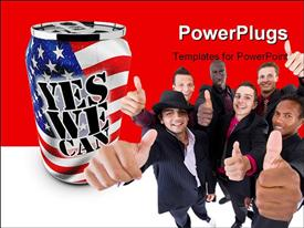 PowerPoint template displaying motivational and patriotic aluminum can saying yes we can