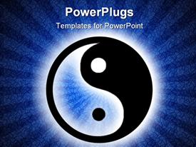 Yin yang symbol of harmony and meditation on grunge blue spiral background powerpoint design layout