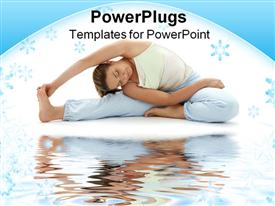 PowerPoint template displaying woman doing seated yoga pose next to water body in white background