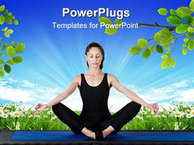 PowerPoint template displaying young women wearing black exercising clothes performing yoga meditation exercising on blue mat with flower field and branches with green leaves and bright blue sky background