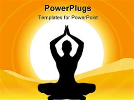 PowerPoint template displaying silhouette Human Performing Yoga On Natural Background in the background.
