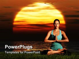 PowerPoint template displaying sportive beautiful woman training yoga on the beach at dawn in the background.
