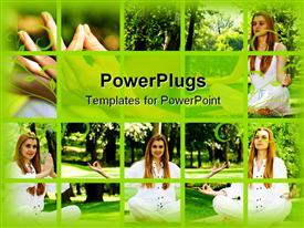 PowerPoint template displaying different tiles showing different angles of a lady doing yoga