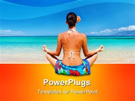 PowerPoint template displaying woman meditating in sarong on tropical beach in the background.