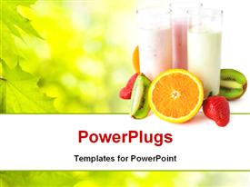 Three glasses with yogurts surrounded by fresh fruits. Healthy eating powerpoint design layout