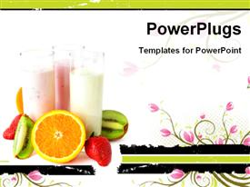 PowerPoint template displaying three glasses with yogurts surrounded by fresh fruits, healthy eating concept
