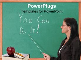 PowerPoint template displaying teacher pointing You Can Do It! text written on chalkboard