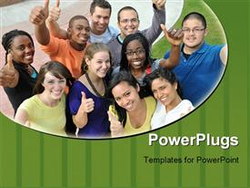 PowerPoint template displaying diverse group of smiling people giving thumbs up gestures