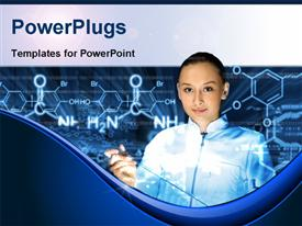 PowerPoint template displaying chemical formulas of hydrocarbons with smiling chemist learning