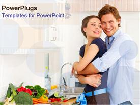 PowerPoint template displaying happy young couple holds each other in the kitchen