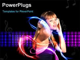PowerPoint template displaying young girl enthusiastically listens to music. The energy flowing down her arm in the background.