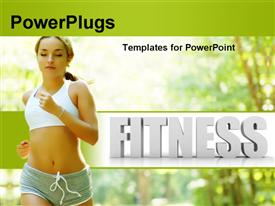 PowerPoint template displaying a beautiful girl running in the forest
