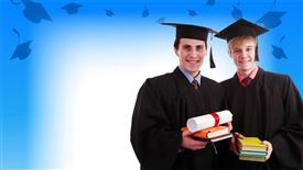 PowerPoint template displaying two graduates with bluish background and place for text