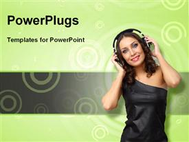 PowerPoint template displaying happy young woman with headphones on over green background with concentric circles