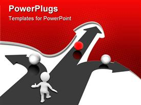 PowerPoint template displaying three dimensional man at crossroad with three different choices
