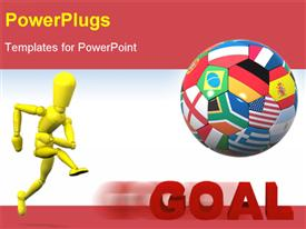PowerPoint template displaying a 3D character running beside a ball made of different flags
