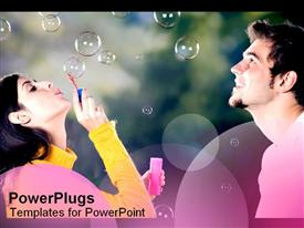 PowerPoint template displaying girl blows bubbles as boy watches captivated