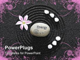 PowerPoint template displaying a garden with an energy stone in the middle of a circle create don black sand