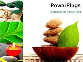 PowerPoint template displaying zen stone with leaf and bokeh copy space showing spa concept in the background.