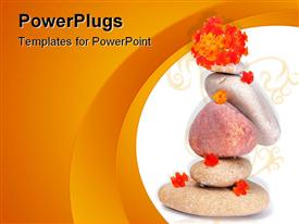 PowerPoint template displaying spa theme with various zen stones and little orange flowers on white and orange background