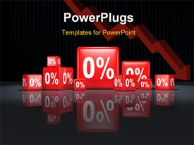 PowerPoint template displaying red cubes with percentage sign on reflective background